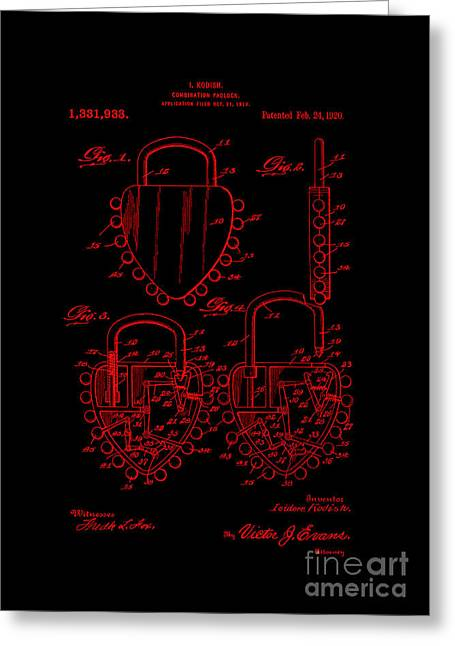 Mechanism Greeting Cards - Patent Art 1920 Kodish Combination Padlock RED Greeting Card by Lesa Fine
