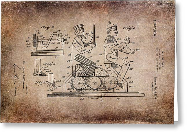 Nostalgic Greeting Cards - Patent Art 1920 Toy Display Antiqued Greeting Card by Lesa Fine
