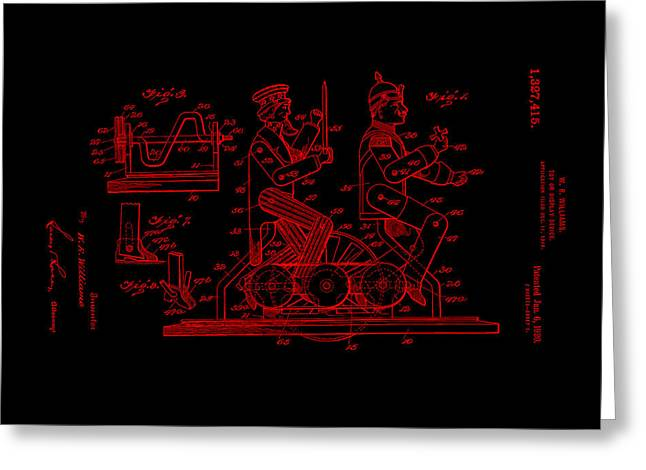 Alabama Greeting Cards - Patent Art 1920 Toy Display RED Greeting Card by Lesa Fine