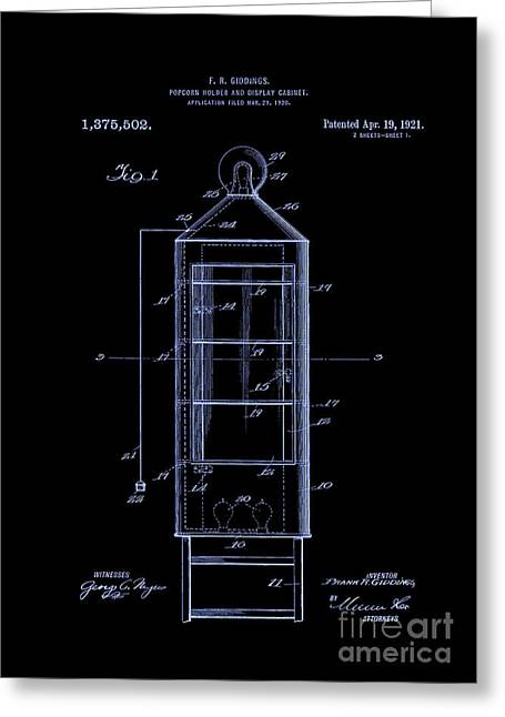 Alabama Greeting Cards - Patent Art 1921 Popcorn Display Blue Greeting Card by Lesa Fine