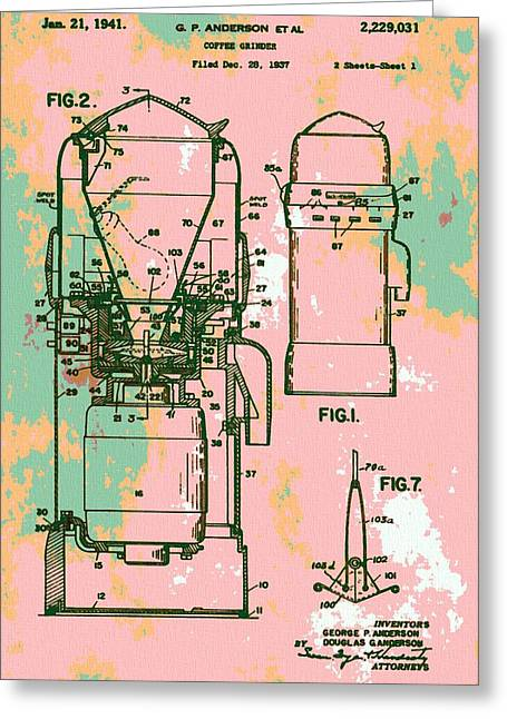 Old Grinders Digital Art Greeting Cards - Patent Art Coffee Grinder Greeting Card by Dan Sproul