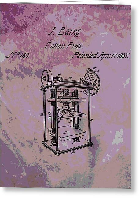 """""""cotton Pickers"""" Greeting Cards - Patent Art Cotton Press Greeting Card by Dan Sproul"""
