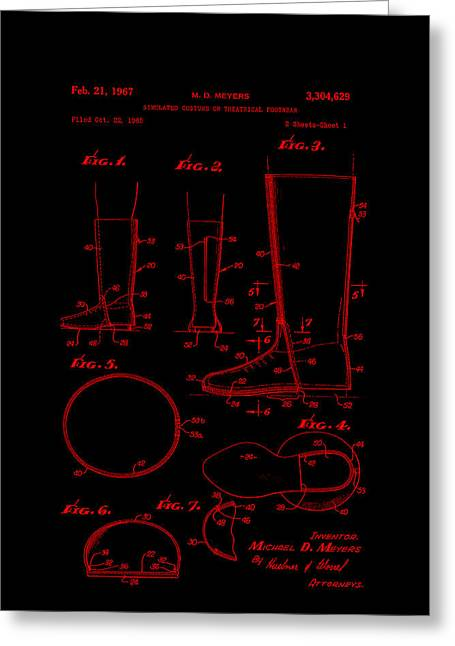 Boots Digital Art Greeting Cards - Patent Art Footware Boots -Red Greeting Card by Lesa Fine