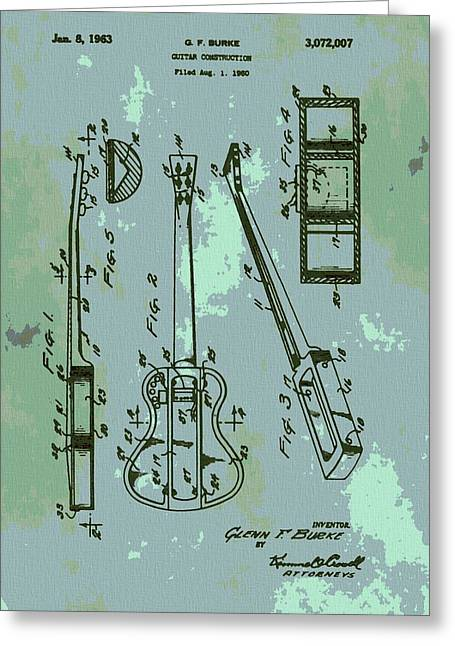 Recording Artists Greeting Cards - Patent Art Guitar Greeting Card by Dan Sproul