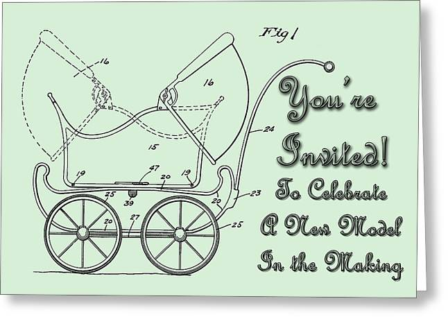 Vintage Greeting Cards - Patent Art Robinson Baby Carriage Invite Green Greeting Card by Lesa Fine