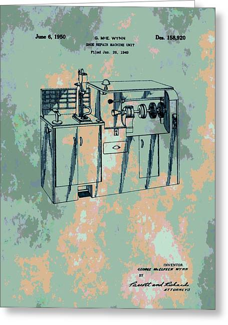 Repaired Digital Art Greeting Cards - Patent Art Shoe Machine Greeting Card by Dan Sproul
