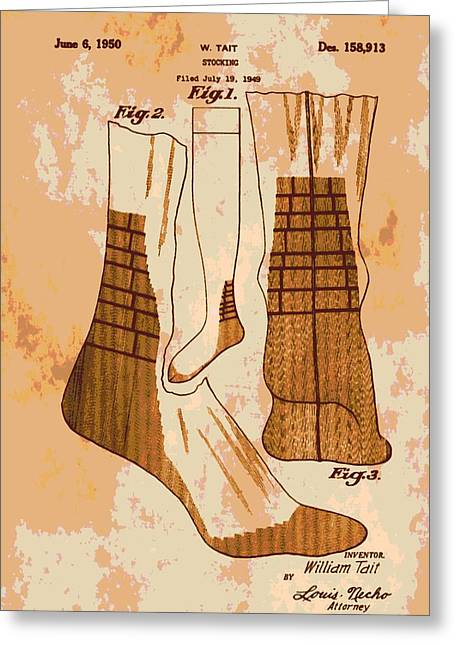 Knee-high Greeting Cards - Patent Art Socks Greeting Card by Dan Sproul