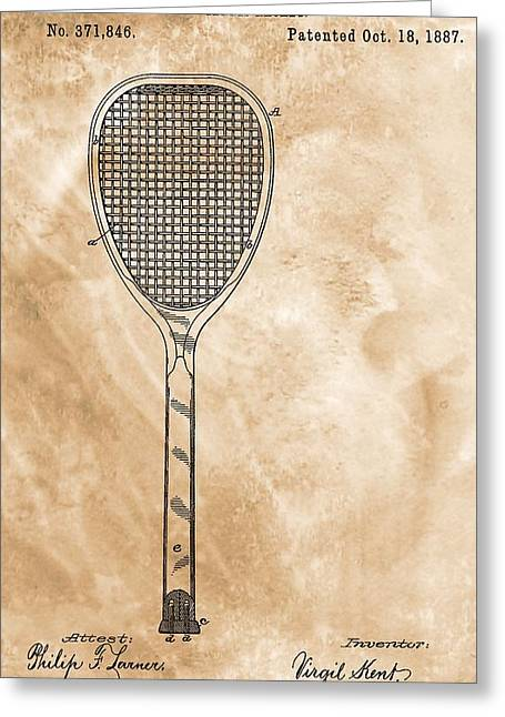 Racquet Digital Art Greeting Cards - Patent Art Tennis Racket Greeting Card by Dan Sproul