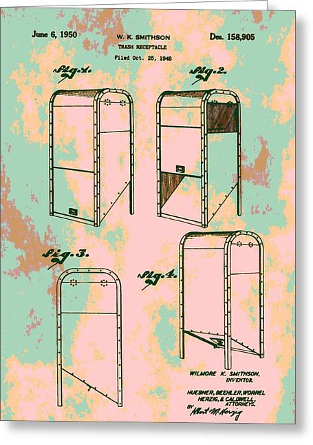 Thrown Away Greeting Cards - Patent Art Trash Can Greeting Card by Dan Sproul