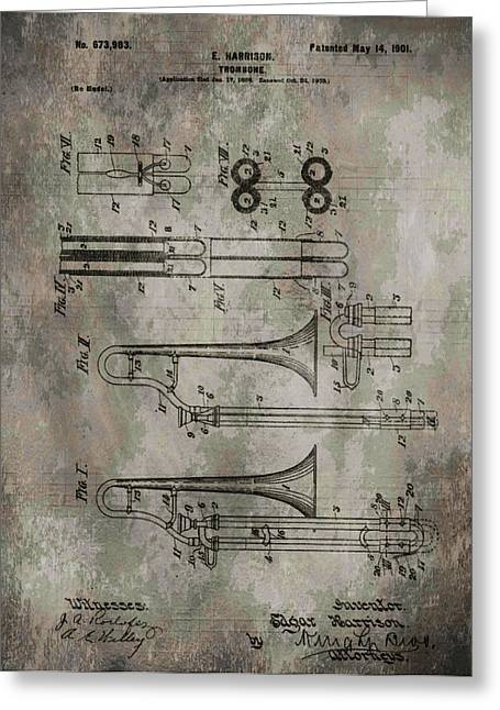 Marching Band Greeting Cards - Patent Art Trombone Greeting Card by Dan Sproul