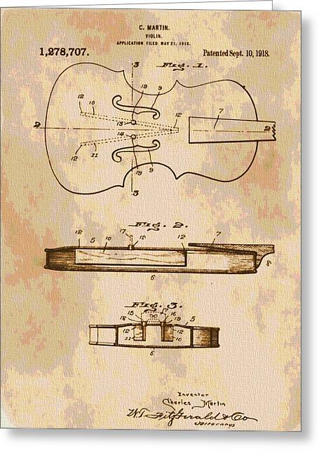 Maestro Greeting Cards - Patent Art Violin Greeting Card by Dan Sproul