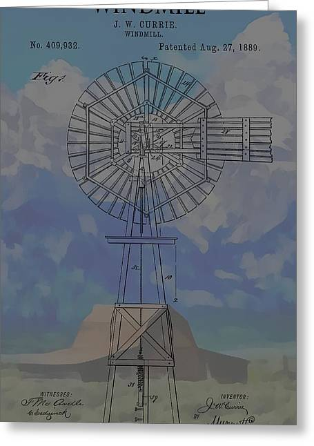 Mountain Cabin Greeting Cards - Patent Art Windmill And Mountains Greeting Card by Dan Sproul