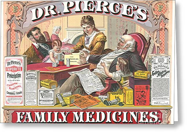 1874 Greeting Cards - Patent Medicine Ad 1874 Greeting Card by Padre Art