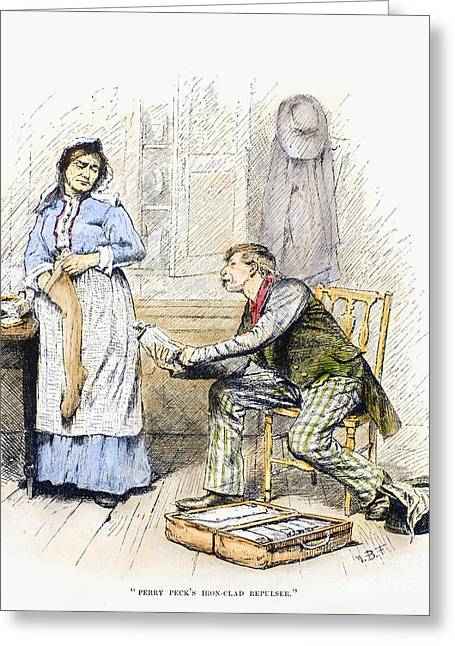 Apron Greeting Cards - Patent Medicine Salesman Greeting Card by Granger