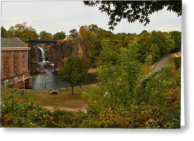 """great Falls"" Greeting Cards - Paterson Great Falls Panoramic View Greeting Card by Adam Jewell"