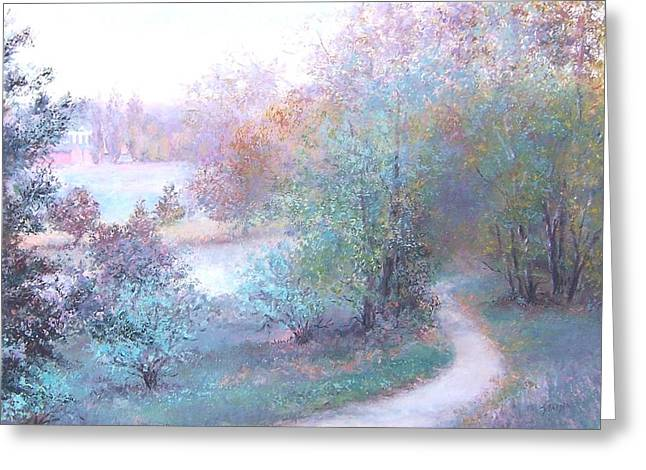 Autumn Landscape Paintings Greeting Cards - Path by the River Greeting Card by Jan Matson
