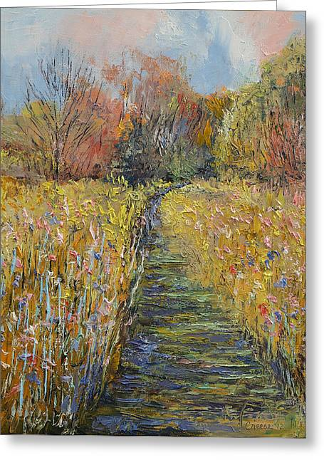 Impasto Tree Greeting Cards - Path in the Meadow Greeting Card by Michael Creese