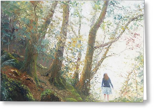 Figure In Oil Greeting Cards - Path in the woods Greeting Card by Jan Matson