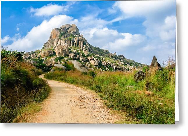 Newsom Greeting Cards - Path into the Hills Greeting Card by Nila Newsom