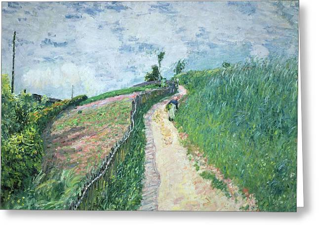 Apron Greeting Cards - Path Leading to Ville DAvray Greeting Card by Alfred Sisley