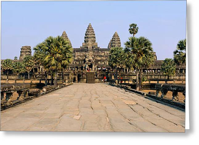 Cambodia Greeting Cards - Path Leading Towards An Old Temple Greeting Card by Panoramic Images