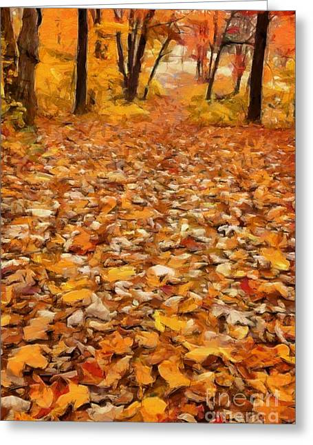 Earth Tone Photographs Greeting Cards - Path of Fallen Leaves Greeting Card by Edward Fielding
