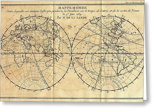 Path Of The 1761 Transit Of Venus Greeting Card by American Philosophical Society