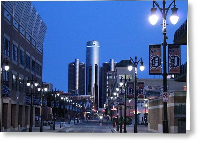 Renaissance Center Greeting Cards - Path of the Ren Greeting Card by Dave Glover