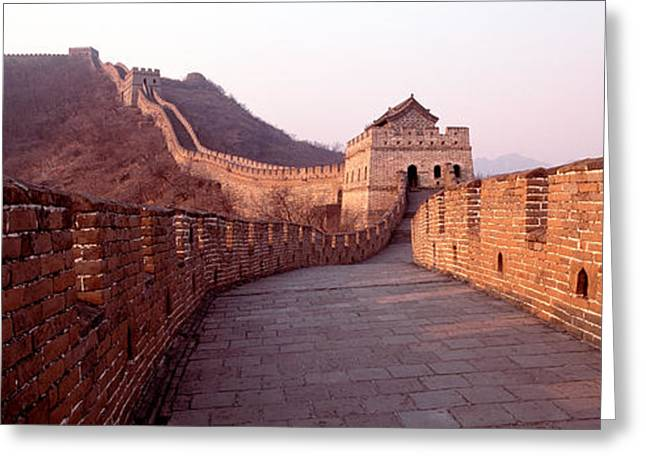 Fortified Wall Greeting Cards - Path On A Fortified Wall, Great Wall Of Greeting Card by Panoramic Images