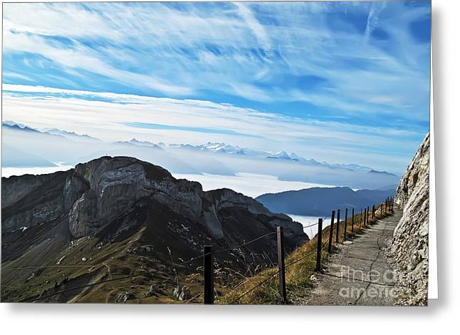Swiss Photographs Greeting Cards - Path on the Edge of the World Greeting Card by Elvis Vaughn