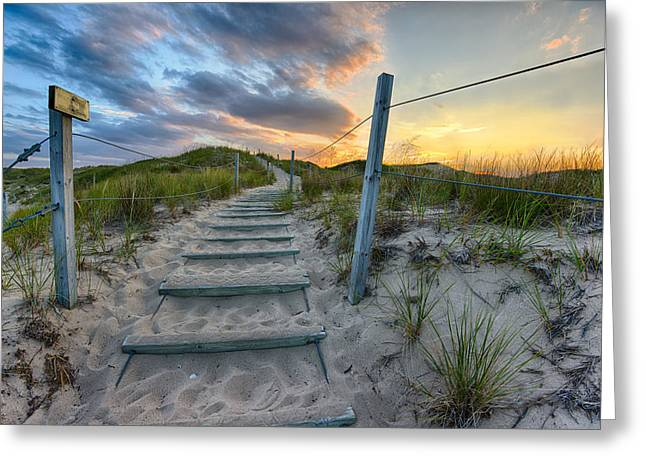 Ethereal Beach Scene Greeting Cards - Path Over The Dunes Greeting Card by Sebastian Musial