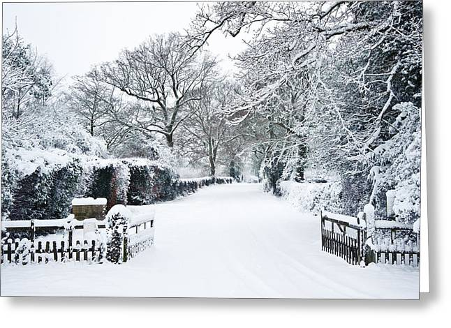 Winter Roads Greeting Cards - Path through English rurual countryside in Winter with snow Greeting Card by Matthew Gibson