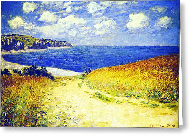 Pourville Greeting Cards - Path Through the Corn at Pourville Greeting Card by Claude Monet