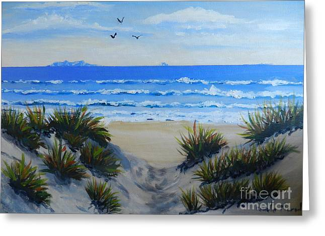 Sand Art Greeting Cards - Path Through the Sand Dunes Greeting Card by Pamela  Meredith
