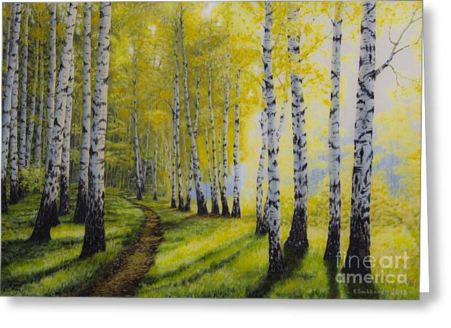 Harmonious Paintings Greeting Cards - Path to autumn Greeting Card by Veikko Suikkanen