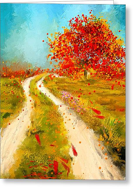 Trees In Autumn Greeting Cards - Path To Change- Autumn Impressionist Painting Greeting Card by Lourry Legarde