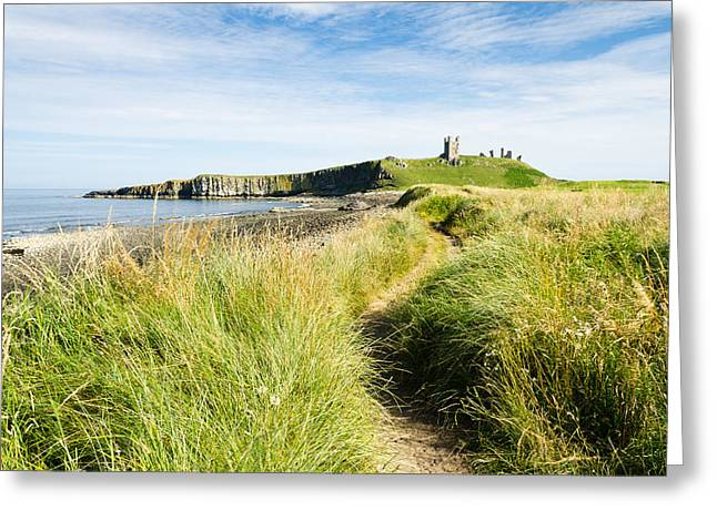 Embleton Greeting Cards - Path to Dunstanburgh  Castle Greeting Card by David Head
