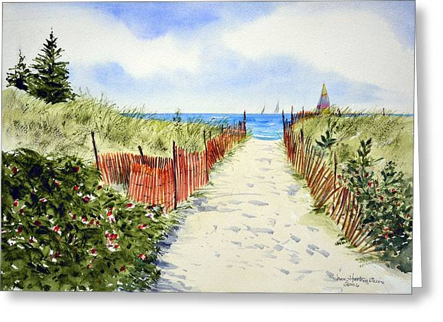 Recently Sold -  - Blue Sailboat Greeting Cards - Path To East Beach-Watch Hill RI Greeting Card by Joan Hartenstein