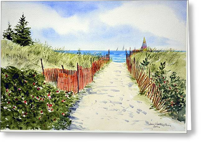 Best Sellers -  - Yellow Sailboats Greeting Cards - Path To East Beach-Watch Hill RI Greeting Card by Joan Hartenstein