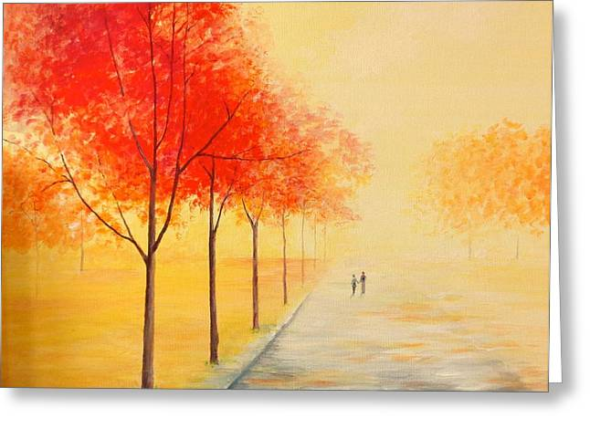 Abstract Realist Landscape Greeting Cards - Path to Happiness Greeting Card by Jean Tatton Jones