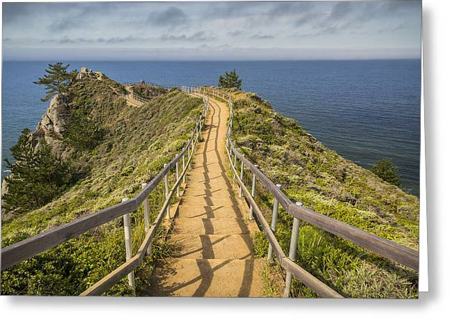Sea Shore Greeting Cards - Path to Muir Beach Overlook Greeting Card by Adam Romanowicz