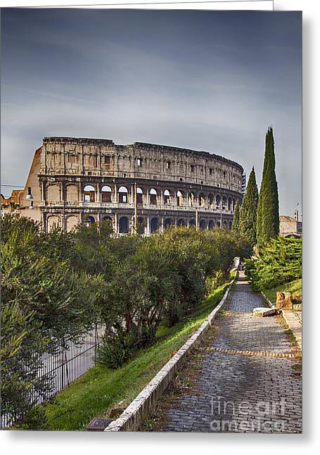 Outdoor Theater Greeting Cards - Path to the colosseum Greeting Card by Sophie McAulay