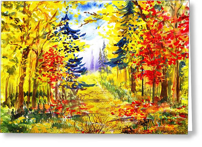 Path To The Fall Greeting Card by Irina Sztukowski