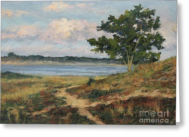 Storm Clouds Cape Cod Greeting Cards - Path to the Harbor Greeting Card by Gregory Arnett