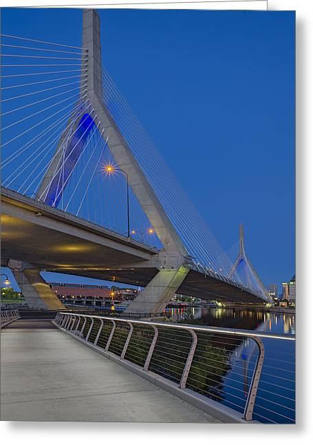 Paul Revere Greeting Cards - Path To The Leonard P. Zakim Bridge Greeting Card by Susan Candelario