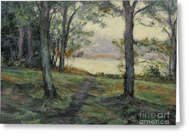 Gregory Arnett Paintings Greeting Cards - Path to the Pond / Early Morning Greeting Card by Gregory Arnett