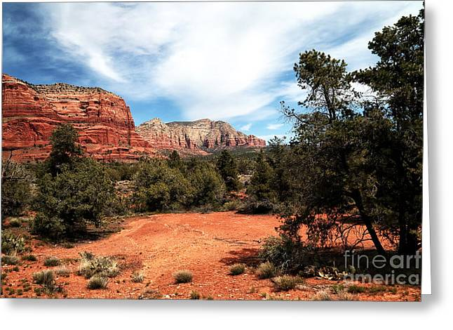 Sedona Mountains Greeting Cards - Path to the Sedona Mountains Greeting Card by John Rizzuto