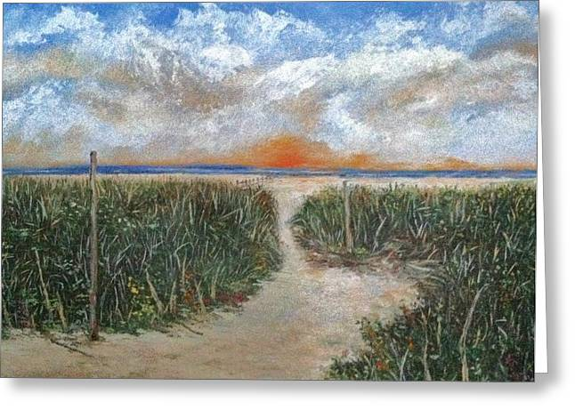 North Fork Greeting Cards - Path to The Sound  Greeting Card by Helen Wendle