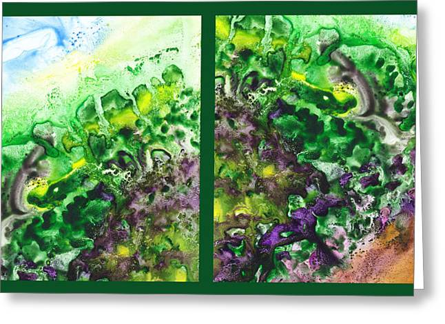 Abstract Art For Sale Paintings Greeting Cards - Path To The Unknown Diptych In Green Greeting Card by Irina Sztukowski
