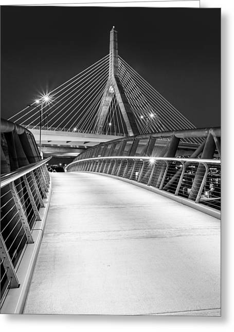Bunker Hill Greeting Cards - Path To The Zakim Bridge BW Greeting Card by Susan Candelario